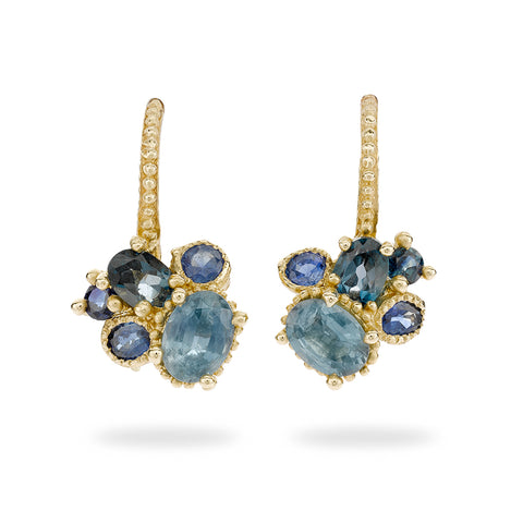 Sapphire and topaz mixed cluster drops from Ruth Tomlinson, handmade in London