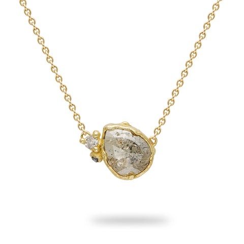 Pear Cut Raw Diamond Pendant From Ruth Tomlinson, handmade in London