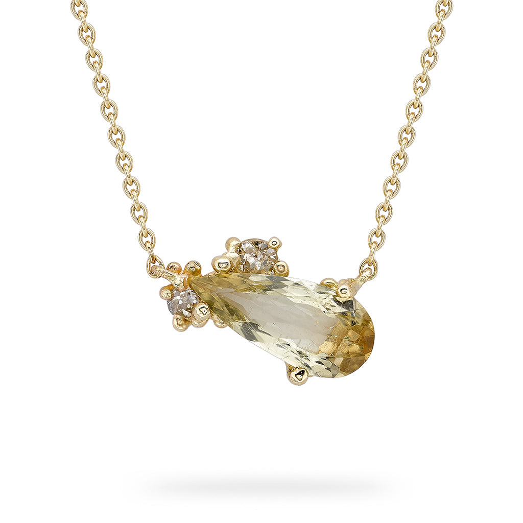 Golden tourmaline and diamond pendant from Ruth Tomlinson, handmade in London