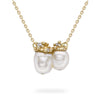Double pearl pendant with diamonds, from Ruth Tomlinson, handmade in London