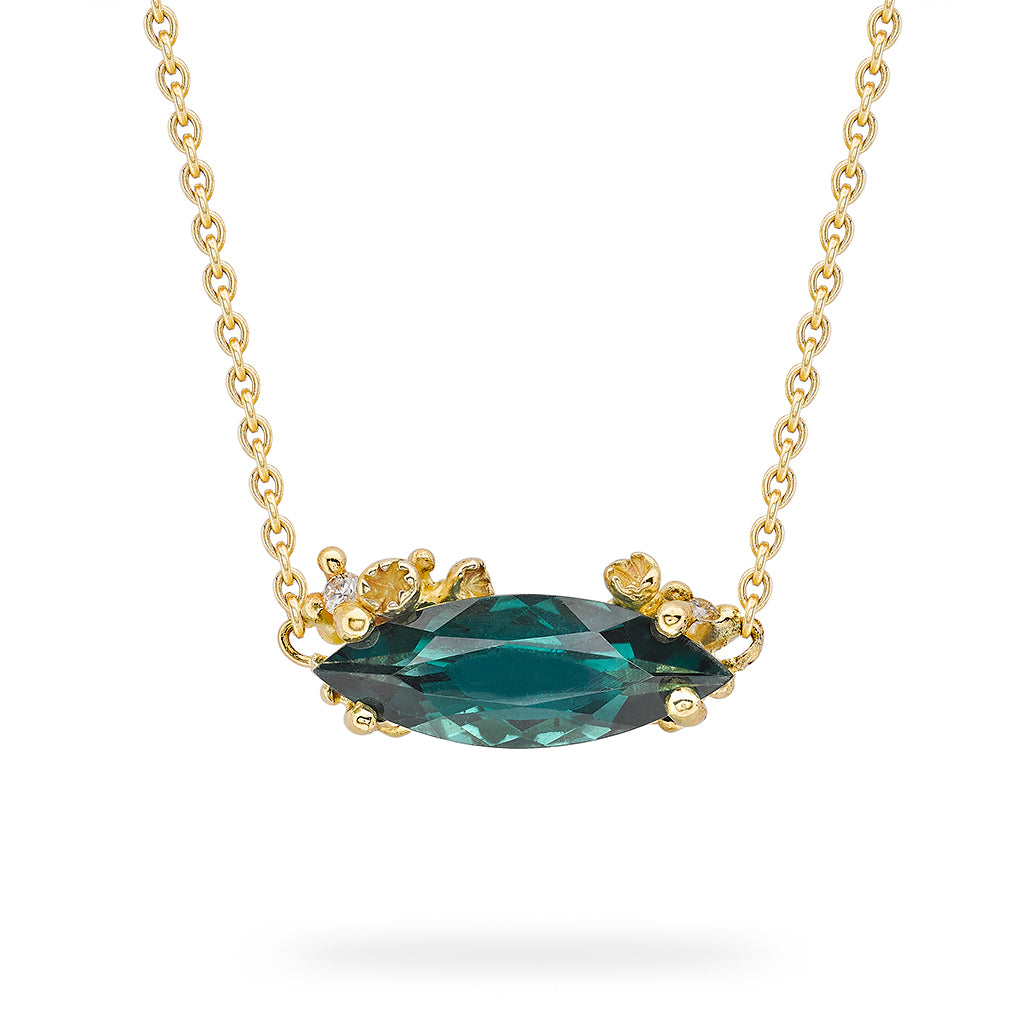 Marquise Cut Green Tourmaline Pendant by Ruth Tomlinson, handmade in London