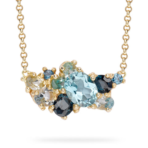 Gemstone encrusted bar necklace from Ruth Tomlinson, handmade in London