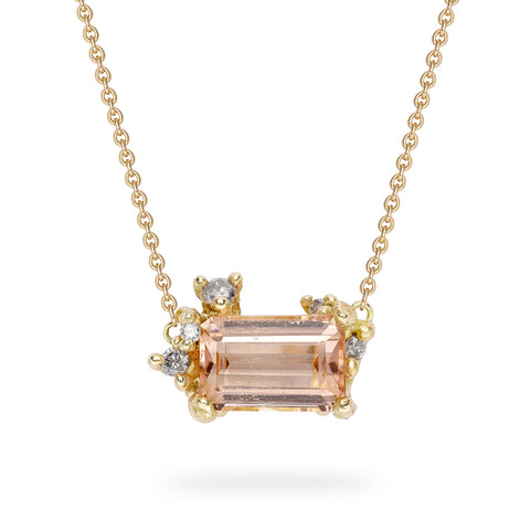 Pink tourmaline and grey diamond pendant from Ruth Tomlinson, handmade in London
