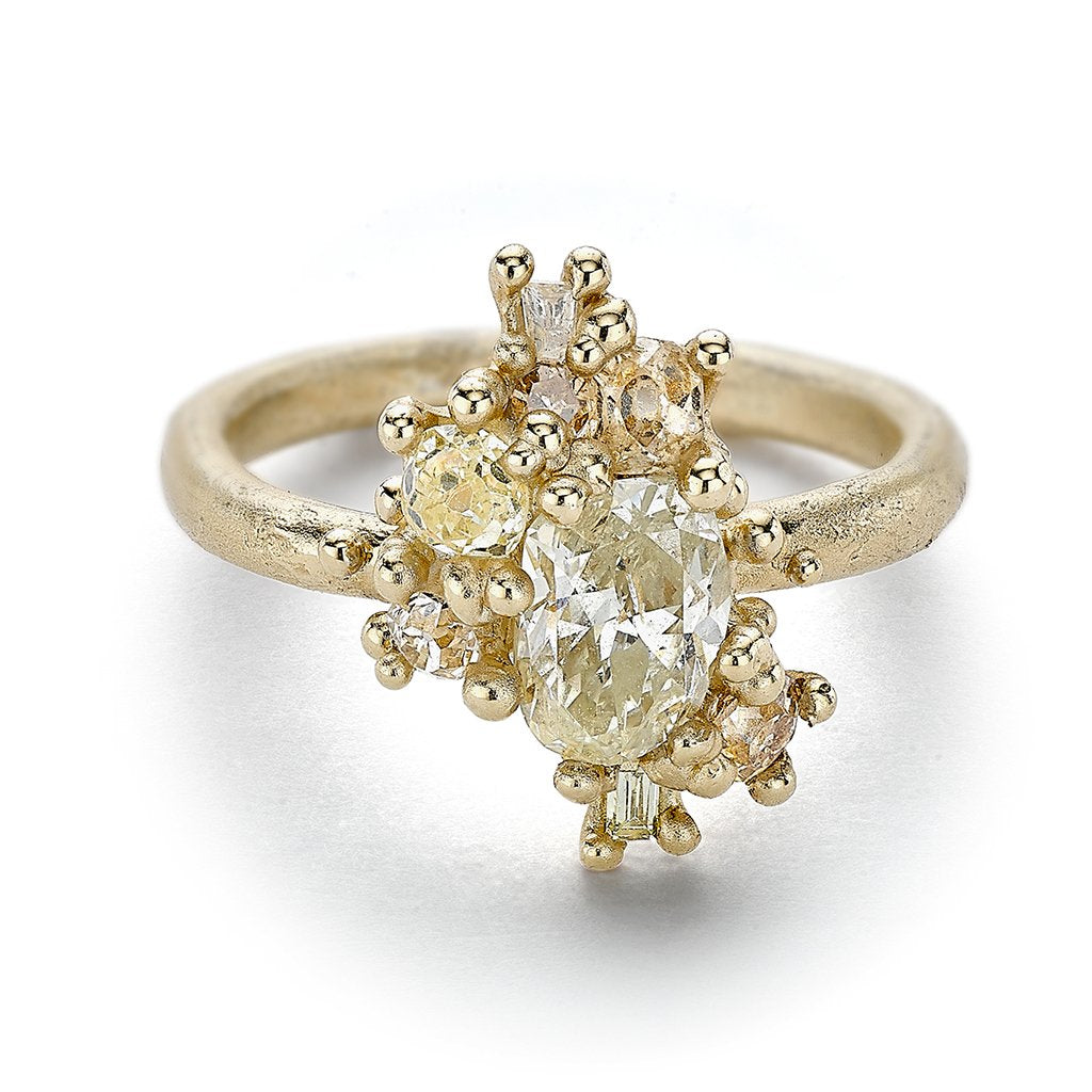 Antique cut diamond cluster engagement ring from Ruth Tomlinson, handmade in London