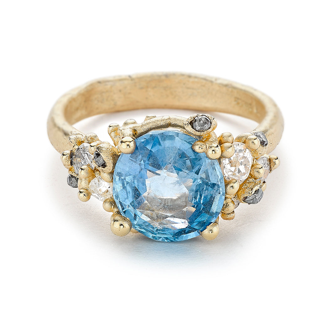 Sapphire and grey diamond cocktail ring from Ruth Tomlinson