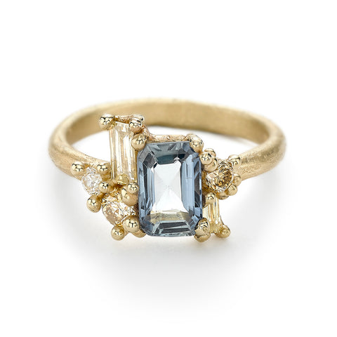 Sapphire and diamond engagement ring by Ruth Tomlinson, as seen in British Vogue