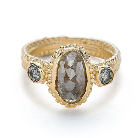 Grey diamond engagement ring from Ruth Tomlinson, handmade in London