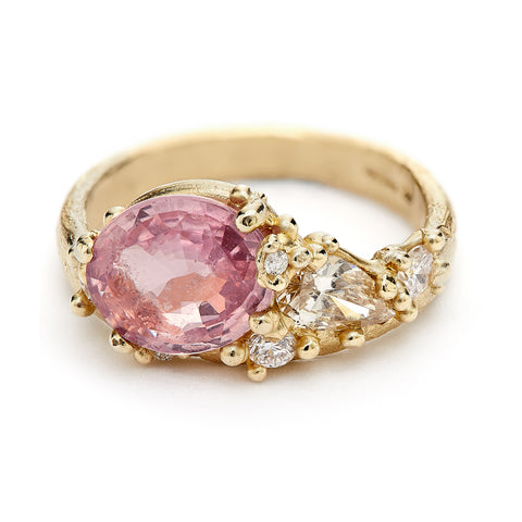 Asymmetric Pink Sapphire and Diamond Encrusted ring from Ruth Tomlinson, handmade in London