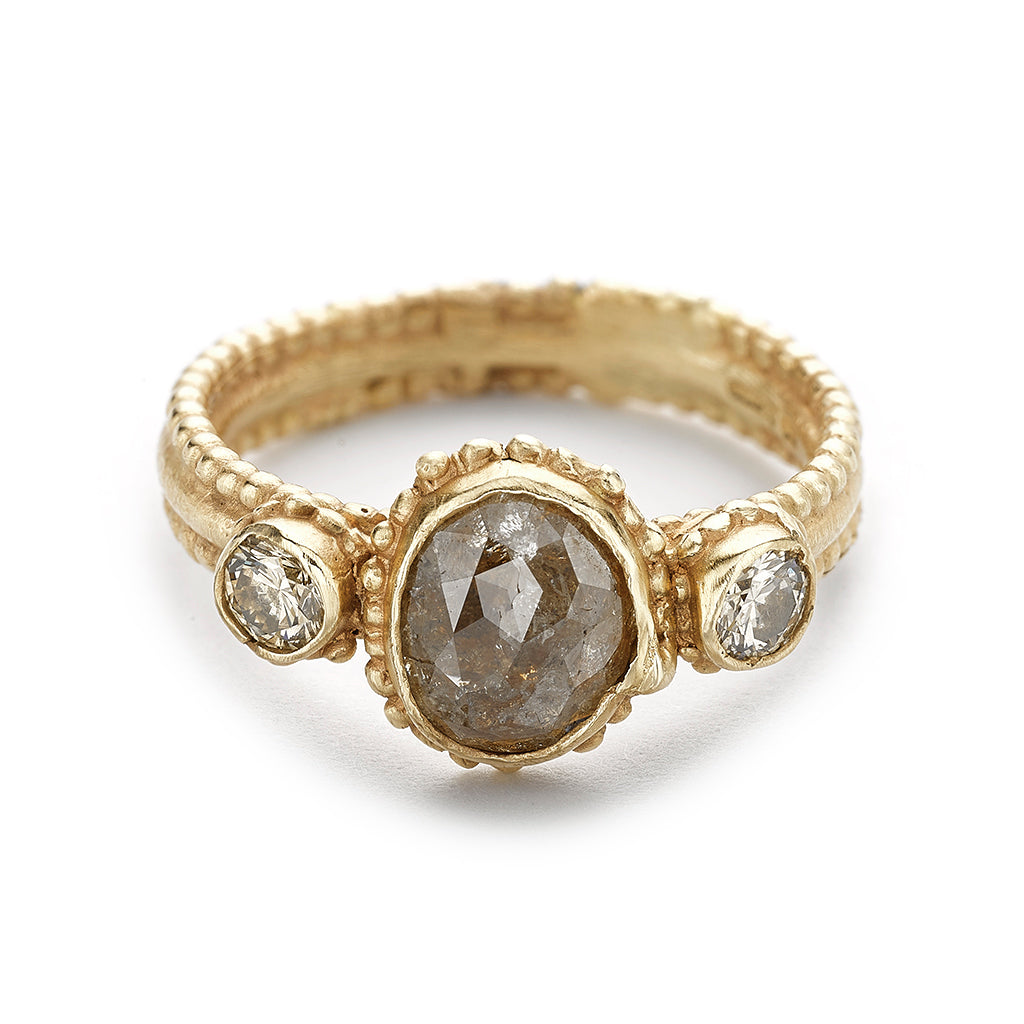 Grey and champagne diamond ring from Ruth Tomlinson, handmade in London