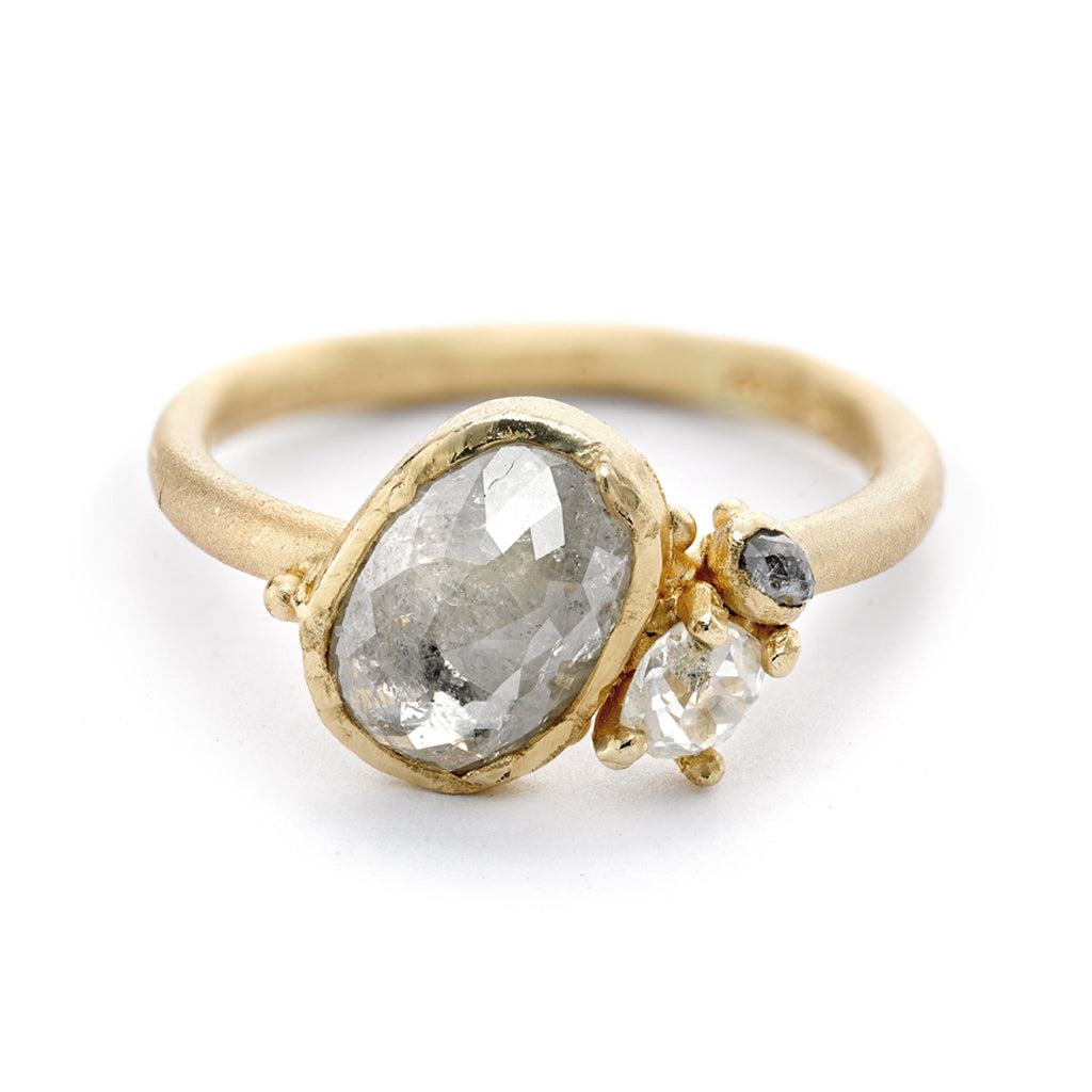 Rose Cut Diamond Cluster Ring from Ruth Tomlinson, handmade in London