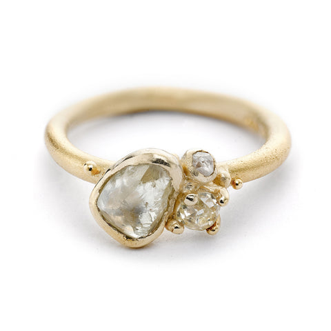 Raw Yellow Diamond Cluster Ring From Ruth Tomlinson, handmade in London