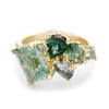 Mixed Tourmaline Asymmetric Cluster Ring from Ruth Tomlinson, handmade in London