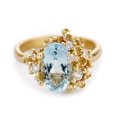 Oval Cut Aquamarine Ring with Diamonds and Barnacles br Ruth Tomlinson, handmade in London