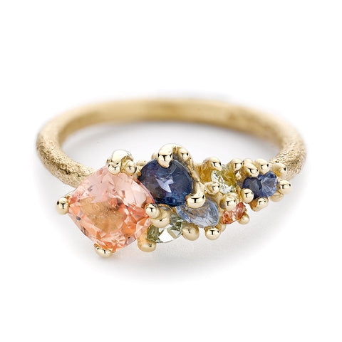 Asymmetric Tourmaline and Sapphire Ring with Granules from Ruth Tomlinson, handmade in London