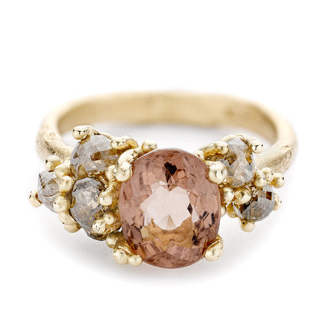 Pink Tourmaline and Brown Diamond Ring from Ruth Tomlinson, handmade in London