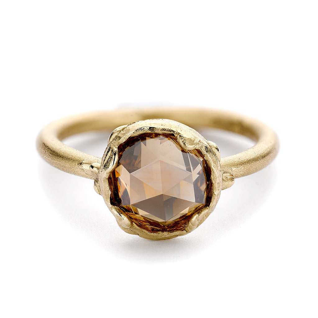 Solitaire champagne diamond ring from Ruth Tomlinson, handmade in London
