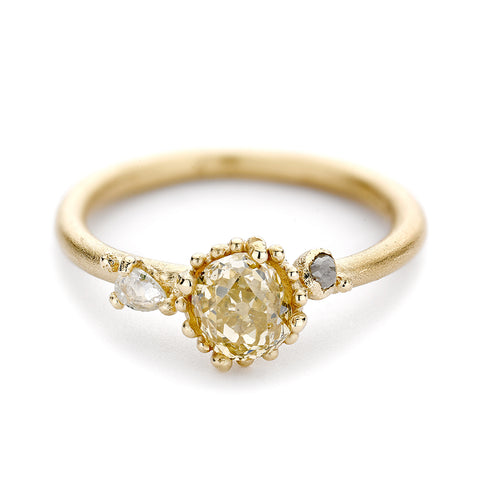 Champagne Diamond Engagement Ring with Beaded Setting by Ruth Tomlinson, handmade in London