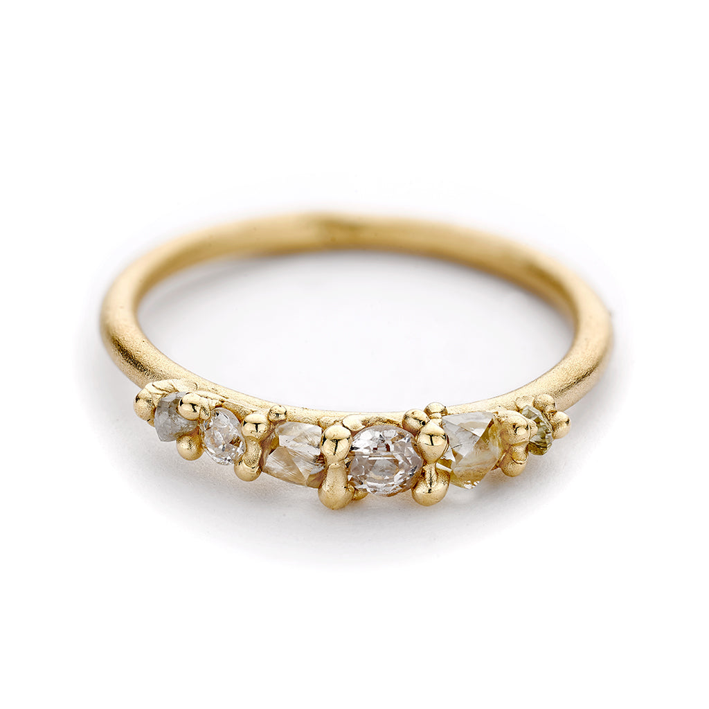 Five Stone Mixed Raw Diamond Engagement Ring by Ruth Tomlinson, handmade in London