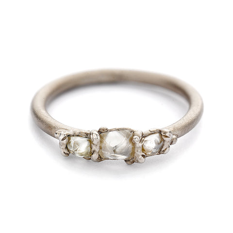 Raw white diamond ring from Ruth Tomlinson, handmade in London