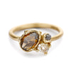 Rose Cut Champagne Diamond Cluster Engagement Ring by Ruth Tomlinson, handmade in London