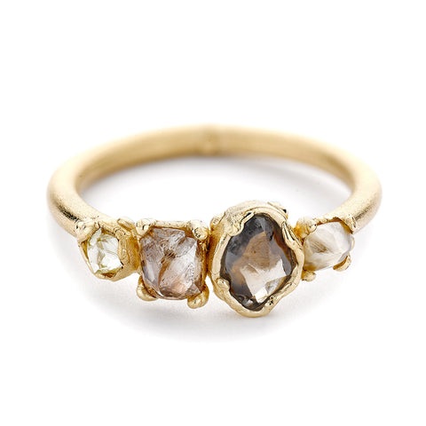 Four Stone Raw Champagne Diamond Engagement Ring by Ruth Tomlinson, handmade in London  Edit alt text