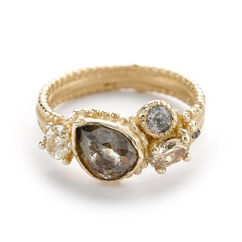 Mixed diamond cluster ring from Ruth Tomlinson, handmade in London