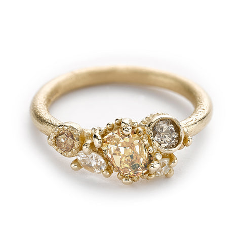 Antique cut diamond cluster ring from Ruth Tomlinson, handmade in London