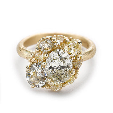 Mixed diamond cluster alternative engagement ring from Ruth Tomlinson, handmade in London