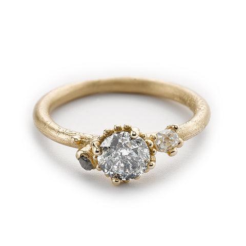 Salt and pepper diamond engagement ring from Ruth Tomlinson, handmade in London