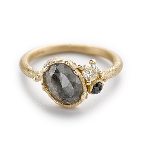 Grey diamond cluster engagement ring from Ruth Tomlinson, handmade in London