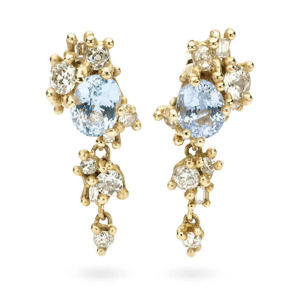 Sapphire and diamond tumbling cluster drop earrings from Ruth Tomlinson, handmade in London