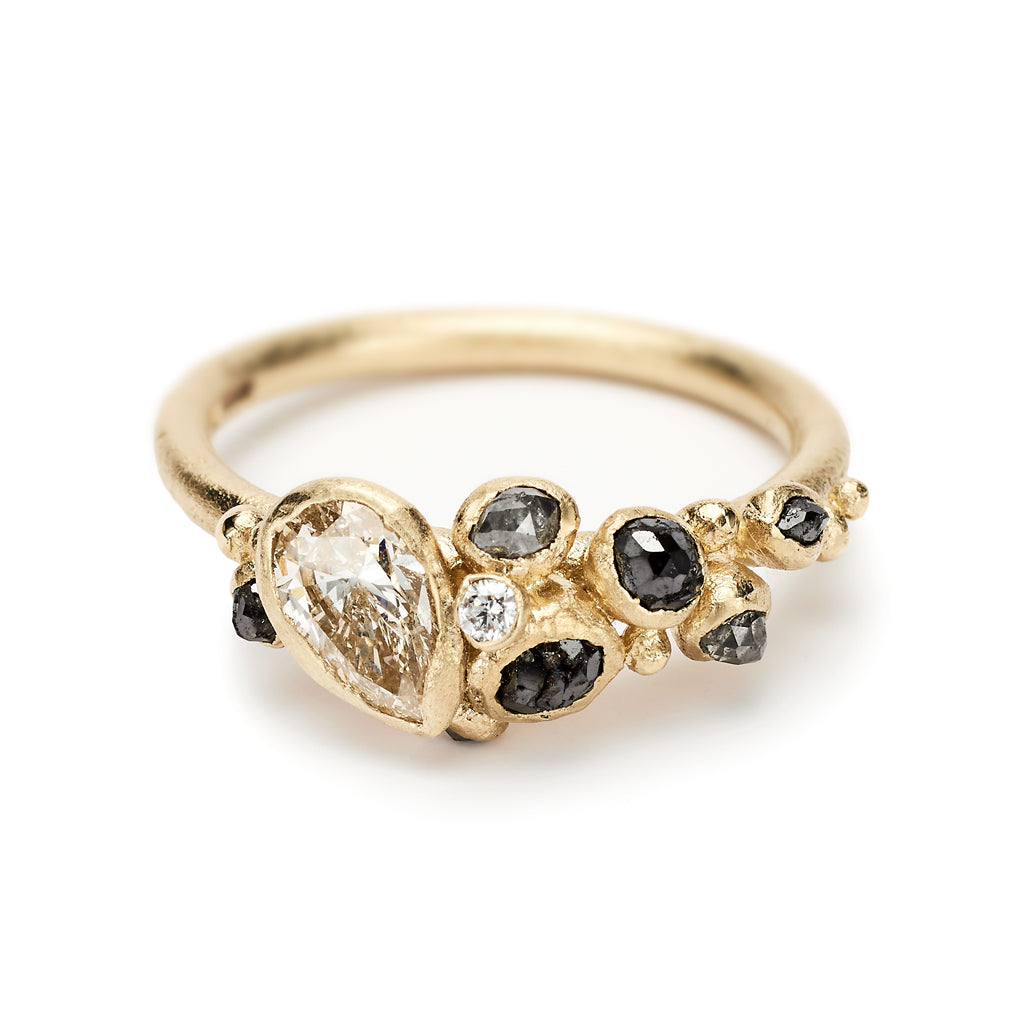 Diamond Cluster Ring with Champagne Faceted Pear