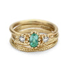 Emerald and diamond ring stack from Ruth Tomlinson, handcrafted in London
