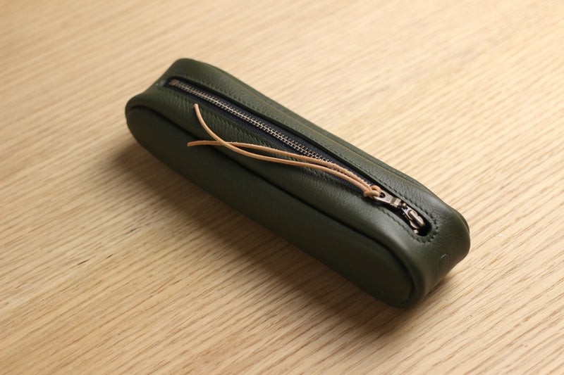 LIMITED - Pencil Case in soft olive cow hide