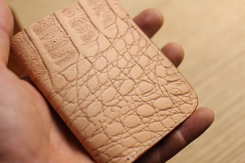 LIMITED - Upright Wallet in two-tone croc print kangaroo
