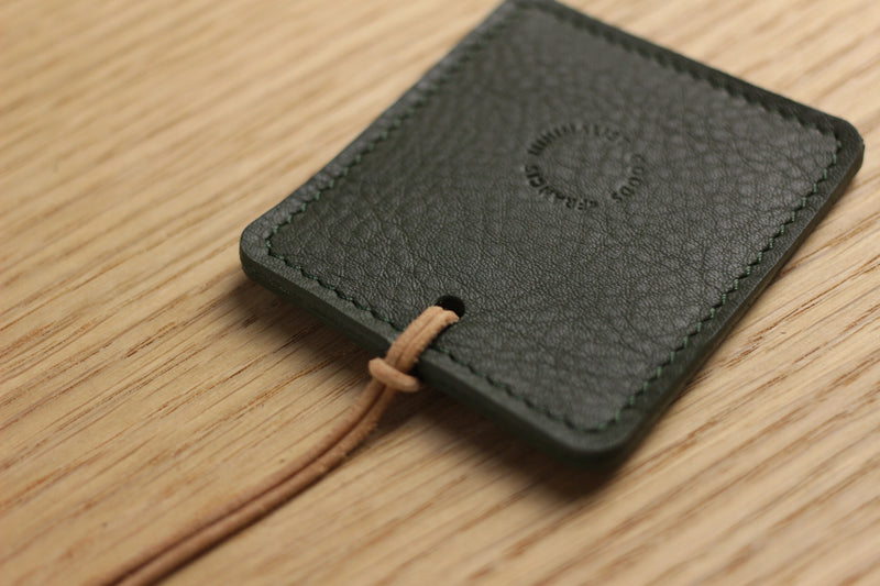 LIMITED - Luggage Tag in soft olive cow hide