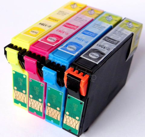 1 FULL SET Compatible EPSON T1285 (T1281/2/3/4) Ink Cartridges (CHIPPED + INK LEVEL)
