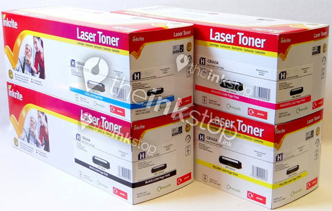 1 Full Set Premium Compatible HP 125A (CB540A, CB541A, CB542, CB543A) Toner Cartridge