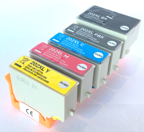 1 Full Set Compatible EPSON 202XL High Capacity Ink Cartridges (Replaces Epson T02G7 Kiwi Cartridges)