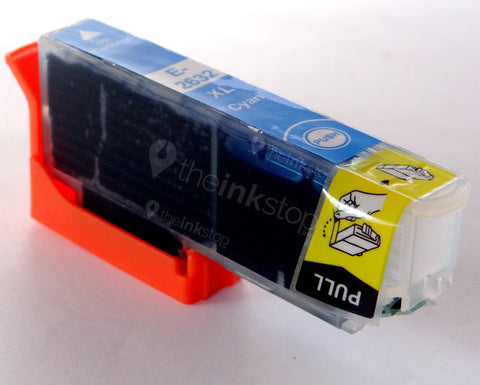 Compatible EPSON T2632XL CYAN HIGH CAPACITY Ink Cartridge (CHIPPED + INK LEVEL)
