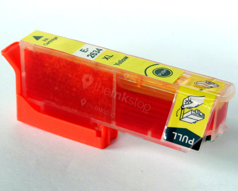 Compatible EPSON T2634XL YELLOW HIGH CAPACITY Ink Cartridge (CHIPPED + INK LEVEL)