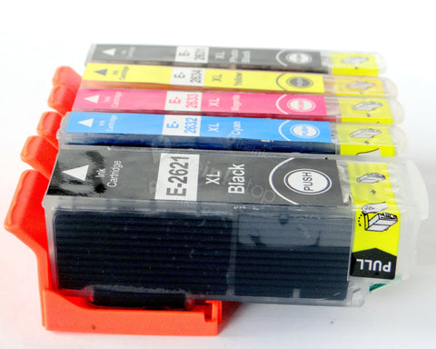 1 FULL SET Compatible EPSON T26XL - 5 Colour High Capacity Ink Cartridge (CHIPPED + INK LEVEL)