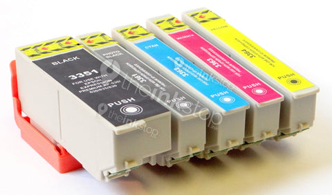 1 FULL SET Compatible EPSON 33XL (ORANGE) Ink Cartridges (CHIPPED + INK LEVEL)