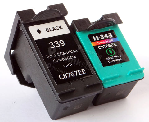 1 FULL SET Remanufactured HP 339 BLACK & HP 343 TRI-COLOUR HIGH CAPACITY Ink Cartridges