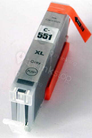 Compatible CANON CLI-551GY XL GREY Ink Cartridge (CHIPPED+INK LEVEL)
