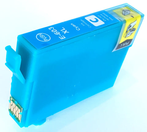 Compatible Epson High Capacity Cyan 603XL Ink Cartridge (Chipped + Ink Level)