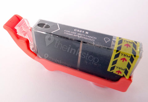 Compatible CANON CLI-521BK BLACK Ink Cartridge (CHIPPED+INK LEVEL)