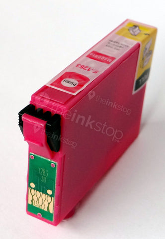 Compatible EPSON T1283 MAGENTA Ink Cartridge (CHIPPED + INK LEVEL)