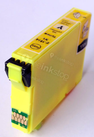 Compatible EPSON T1814XL YELLOW HIGH CAPACITY Ink Cartridge (CHIPPED + INK LEVEL)