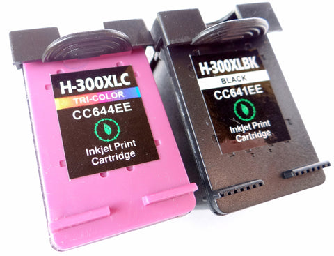 1 FULL SET Remanufactured HP 300XL BLACK & HP 300XL TRI-COLOUR HIGH CAPACITY Ink Cartridges